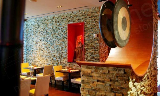 Norstone Ochre Rock Panels | Restaurant Interior Accent Walls