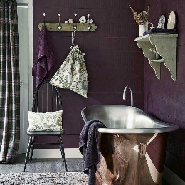 purple and copper bathroom
