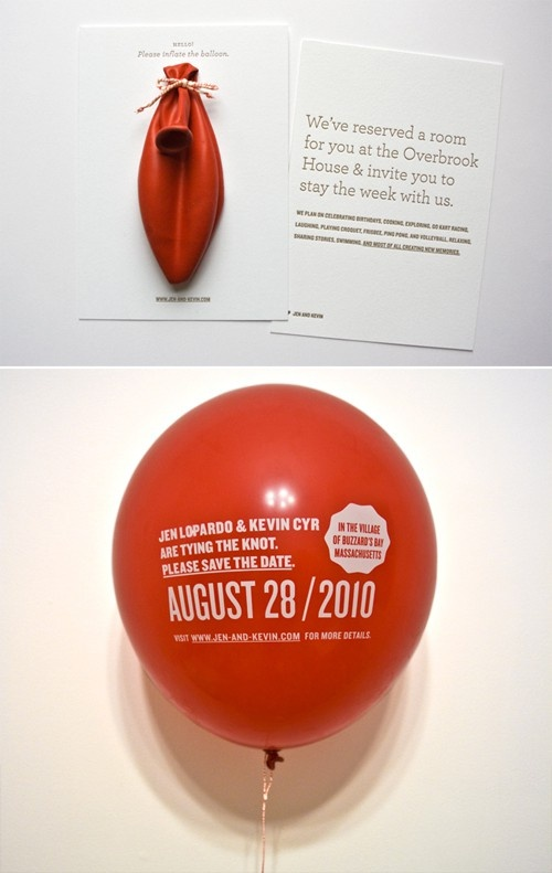 balloon invitation -- pretty unusual way, but pretty cool too