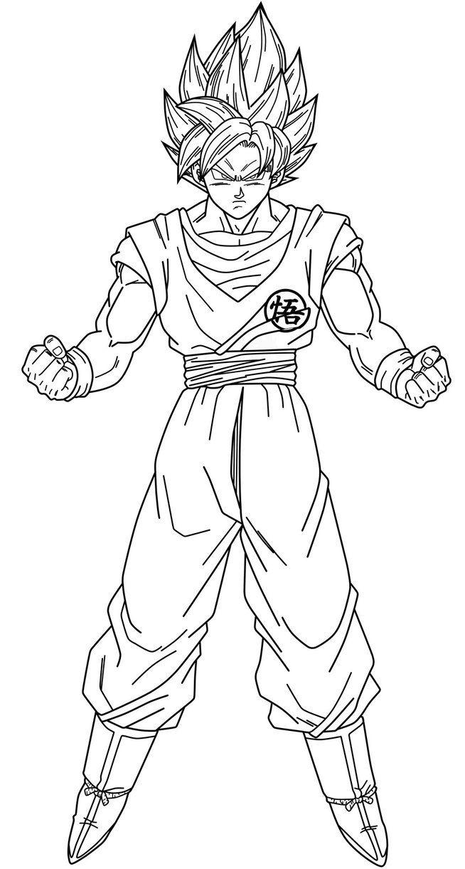 Goku Ssj Blue Lineart By Https Www Deviantart Com Saodvd On