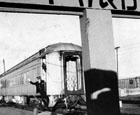 1966-Last passenger Train Departs   Conductor J.C. Hudspeth waves goodbye on behalf of the Fort Worth & Denver's Train No. 8 as it leaves Amarillo for the last time December 15, 1966. The train departed at 9:05 a.m., one hour and forty minutes behind schedule. Along with its southbound counterpart, FW Train No. 1, the train service was discontinued by the Interstate Commerce Commission on request of the railroad.