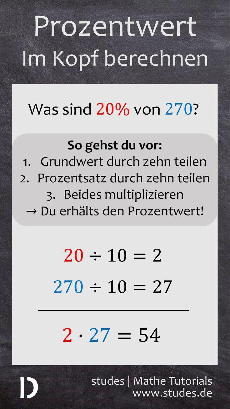 Prozentwert im Kopf berechnen – Wie berechnest du in Sekunden im Kopf den Prozentwert, z. B. im Geschäft? Das ist mit der richtigen Strategie gar nicht so schwer. Zuerst teilst du Prozentsatz und Grundwert durch 10. Anschließend multiplizierst du beide Ergebnisse miteinander, das Ergebnis ist der Prozentwert. | Mehr auf studes.de – Becky Basic