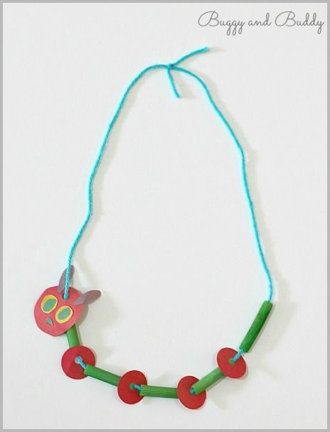 Crafts for Kids: The Very Hungry Caterpillar Necklace (Great activity for practicing patterning fine motor skills)~ Buggy and Buddy