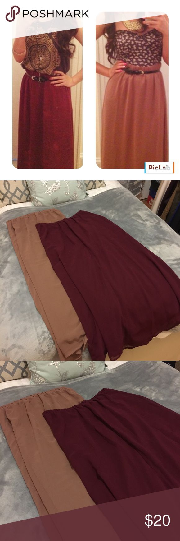 Maxi skirt bundle 2 in a price of one. Maxi skirt 1 - burgundy Maxi skirt  2 - Dusty Rose. Barely worn Forever 21 Skirts Maxi