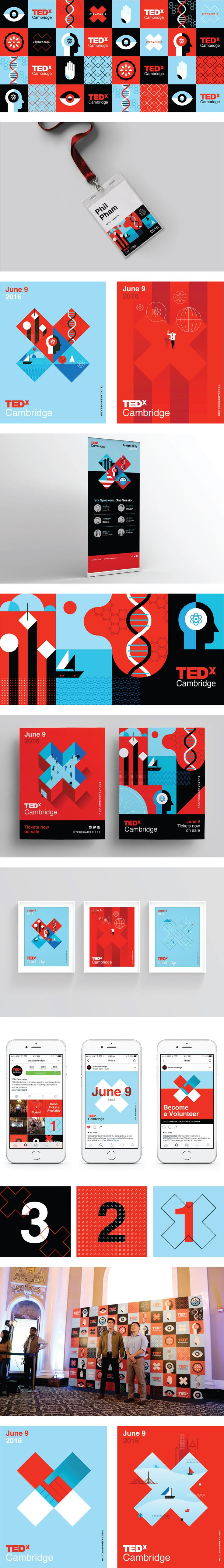 Created by San Francisco based designer: Phil Pham / philphamdesign.com -- Massachusett's TEDxCambridge event is the largest TEDx event in the world with nearly 2,000 attendees. In anticipation for the even't pivotal growth, TEDxCambridge needed updated event branding, conference wayfinding, and digital marketing to draw attendees into the ecosystem and engage them throughout the Boston Opera House.