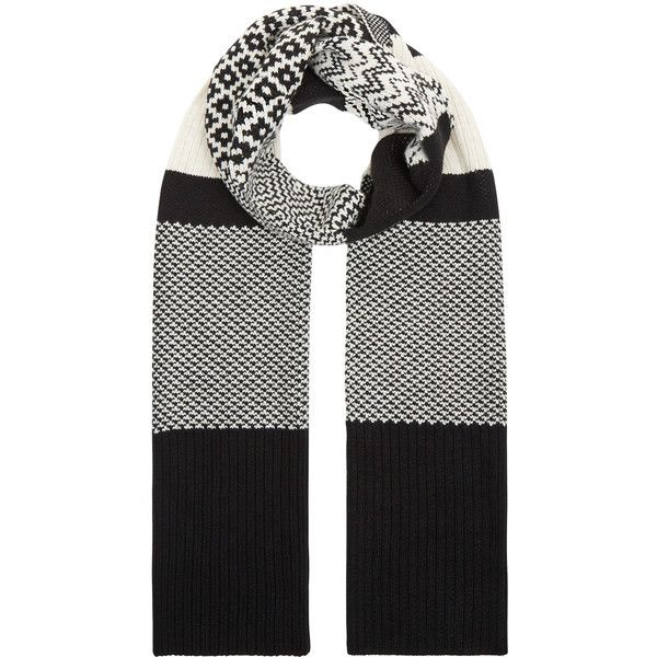 Accessorize Paloma Patchwork Scarf ($30) ❤ liked on Polyvore featuring accessories, scarves, black and white scarves, print scarves, patterned scarves and accessorize scarves