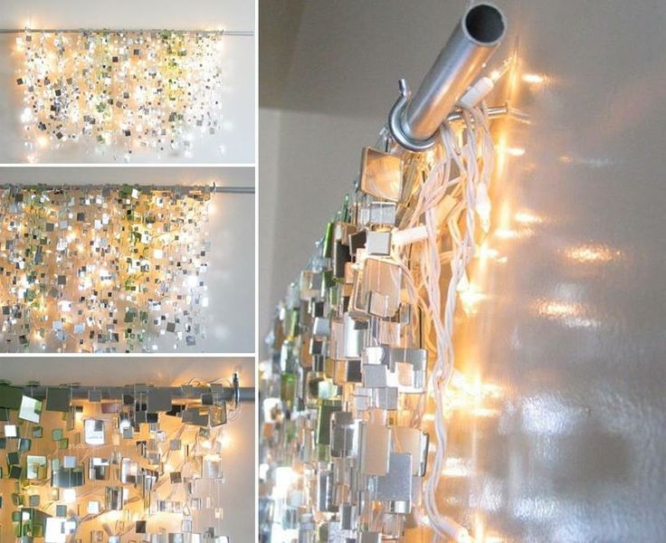 Easy wall decor DIY- mirror and metal tiles with string lights. AWESOME Ideas! Pinterest ...