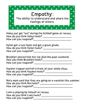 A worksheet to help students learn what empathy is and how they can display empathy in various situations. Please remember to leave feedback and check out my other products you're sure to love!How Anger Feels: https://www.teacherspayteachers.com/Product/How-Anger-Feels-Worksheet-2219422Social Problem Solving Game:https://www.teacherspayteachers.com/Product/Social-Problem-Solving-Game-2209514