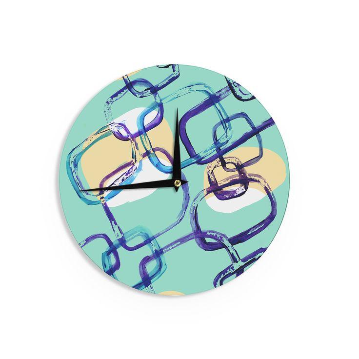 "Theresa Giolzetti ""Sixties Exposure"" Blue Teal Wall Clock"