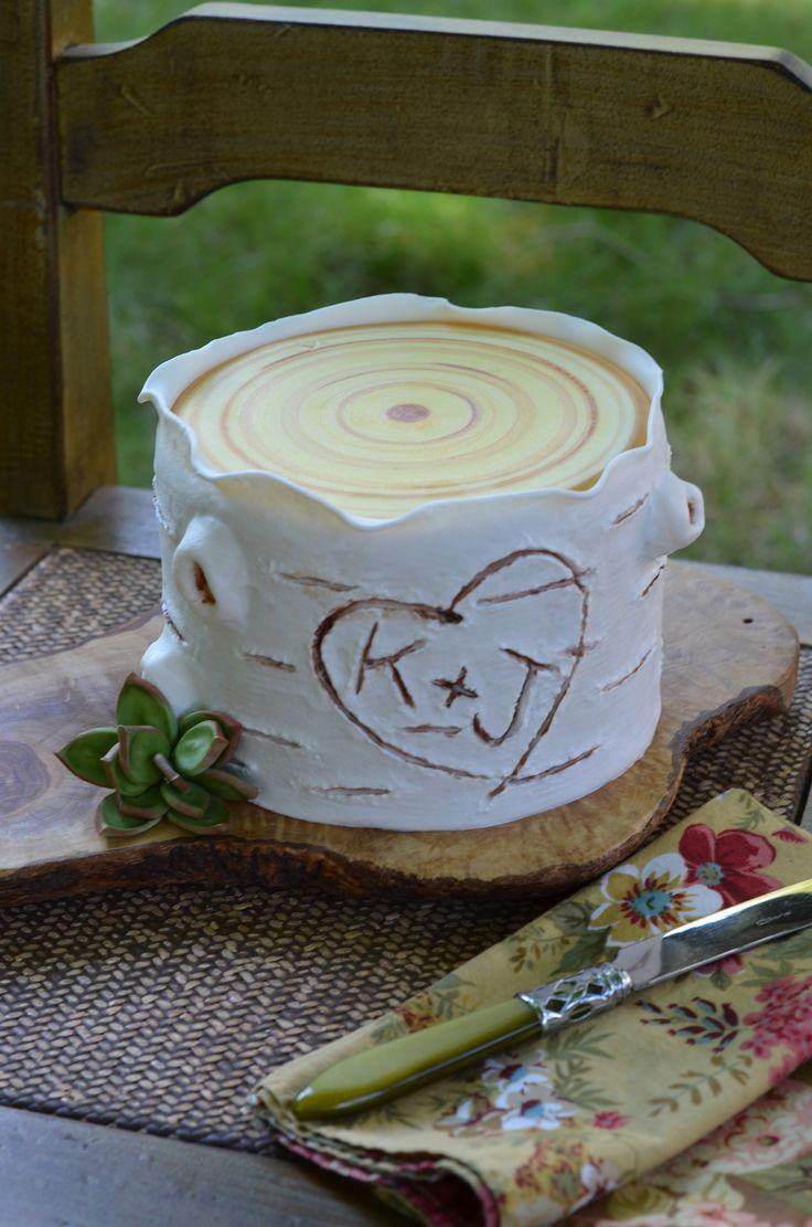 Single Tier White Birch Wedding Cake