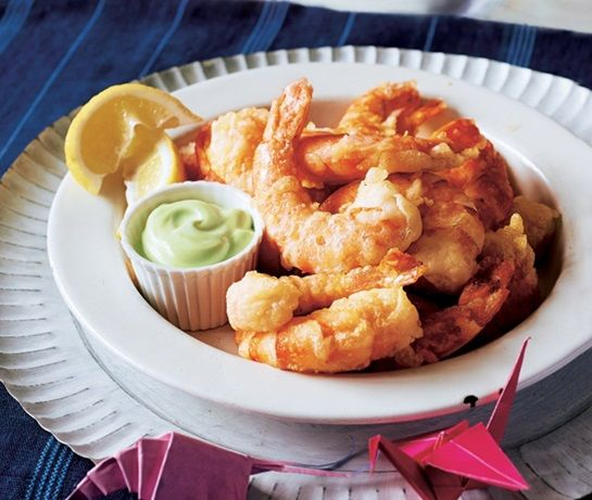 Battered prawns with small wasabi dip