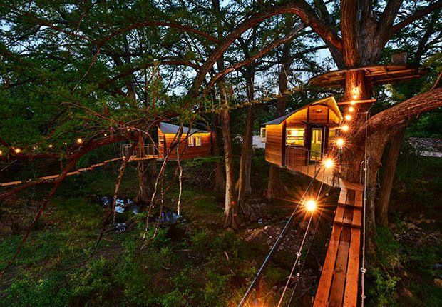 Treetop Romance in a Texas-style Neverland. Spend the night in the trees with the owls and fireflies in this enchanting treehouse created by ArtisTree just outside of Austin Texas.