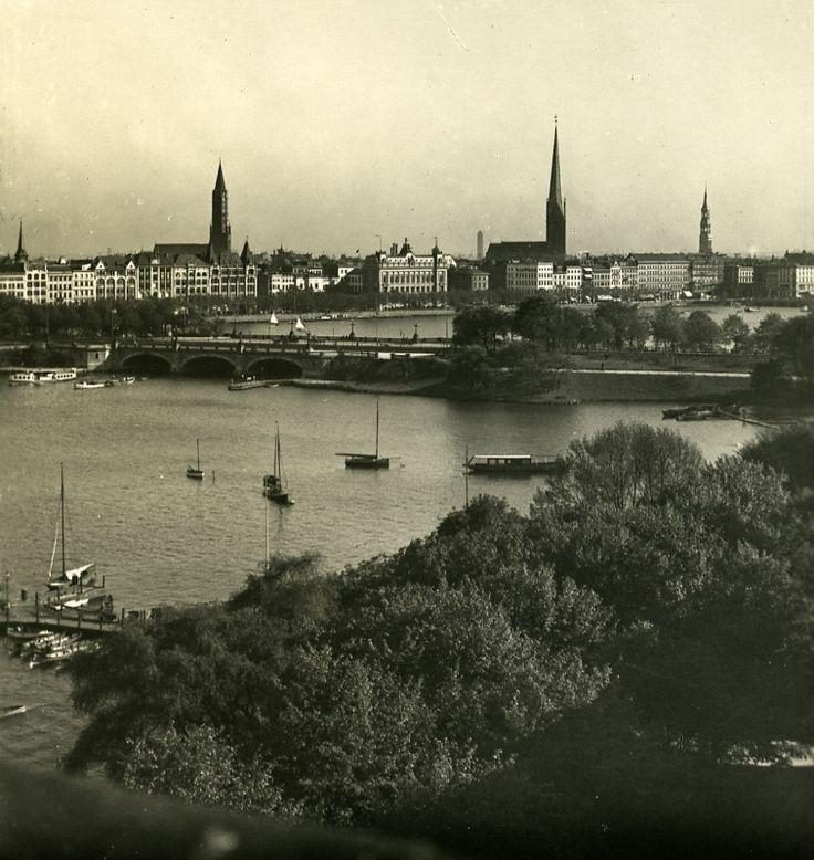 Germany Hamburg Lombardsbrucke Old Photo Stereoview NPG 1900