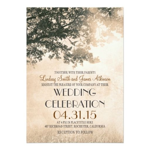 Who Wouldnu0027t Like To Save On This Coral Pink Oak Tree U0026 Love Birds Wedding  Invite When You Order Invitations. We Have Plenty Of Other Wonderful Oak  Tree ...