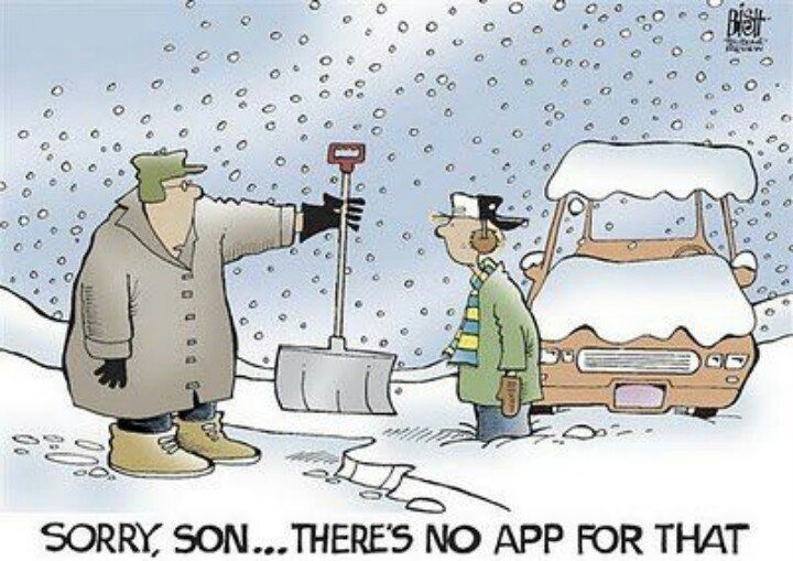 A small comic depicts how much humans now rely on smartphone apps to get simple tasks done.