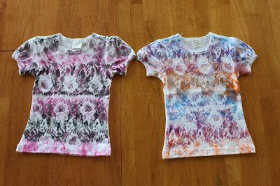 Spray t-shirts with fabric paint through lace. So gonna do this!
