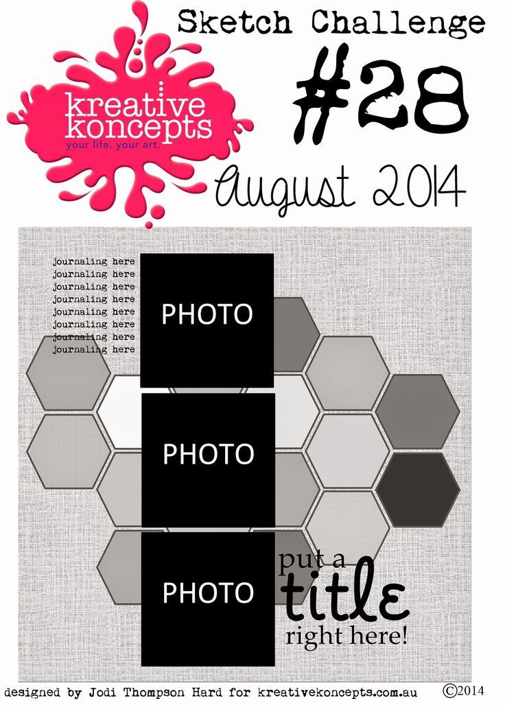 kreative koncepts: Sketch Challenge August #28 August 2014. Wendy Schultz - Scrapbook Sketches.