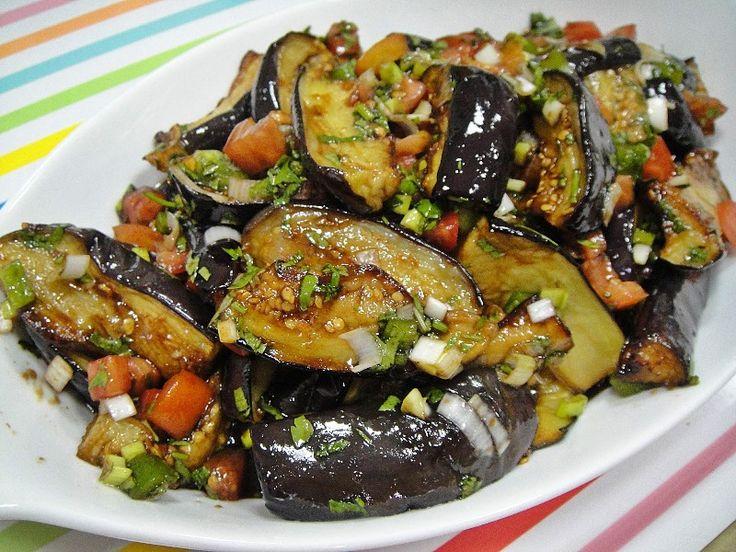 Iraqi eggplant salad with pomegranate molasses