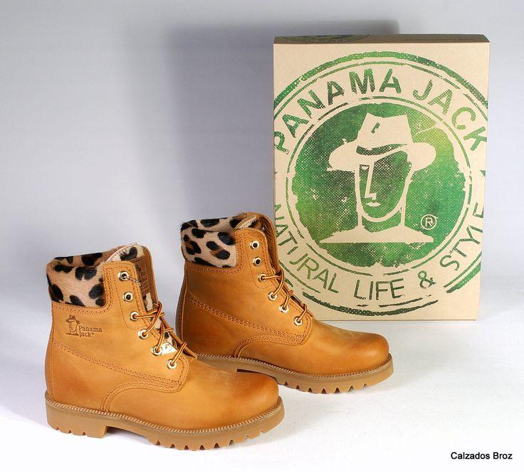 Colección Panama Jack. Bota de piel con cordón - Camel. (muller).