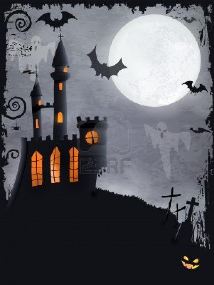15174701-halloween-background-with-haunted-castle-bats-ghosts-full-moon-and-grunge-elements.jpg (903×1200)