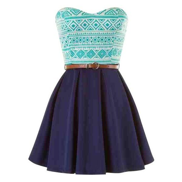 blue belted strapless tribal print skater dress (£19) ❤ liked on Polyvore