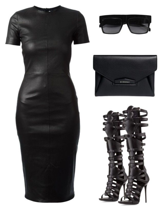 """ALL BLACK EVERYTHING by Melissa's Mirror"" by melissas-mirror ❤ liked on Polyvore featuring Givenchy, Giuseppe Zanotti and CÉLINE"