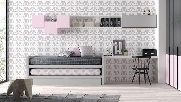 Dormitorio Juvenil, compacto. Gris y rosa