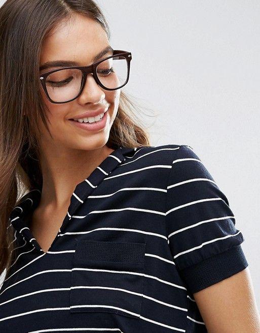 Jeepers Peepers   Jeepers Peepers – Rechteckige Hornbrille mit durchsichtigen Gläsern in Schwarz