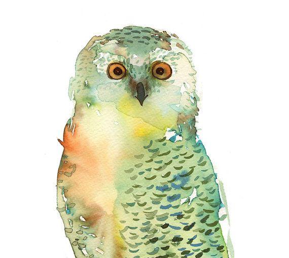 .Green Owls, Painting Art, Owl Art, Watercolors Owls, Owls Watercolors, Archives Fine, Art Prints, Fine Art, Owls Art