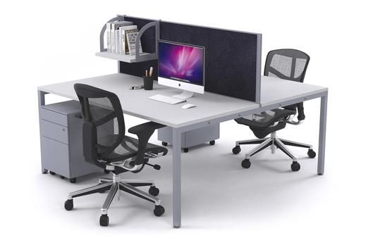Litewall 2000 2 Person Office Workstation Silver Square Leg. This particular Litewall 2000 gives you a classic workstation look with the square legging system but also a bit of style with the sharp silver colour. It offers plenty of desktop space. If a document organiser isn't for you there is plenty of space beneath the desk for a mini filing drawer.