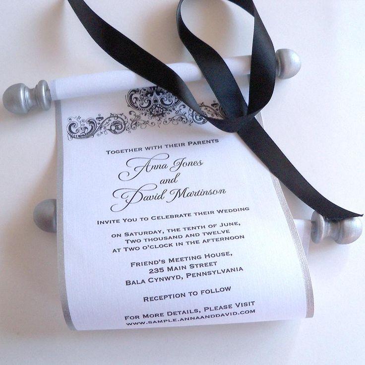 Black and white wedding invitation fabric scrolls