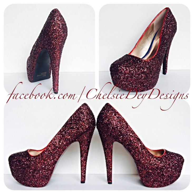 Burgundy Glitter High Heels - pinned by pin4etsy.com