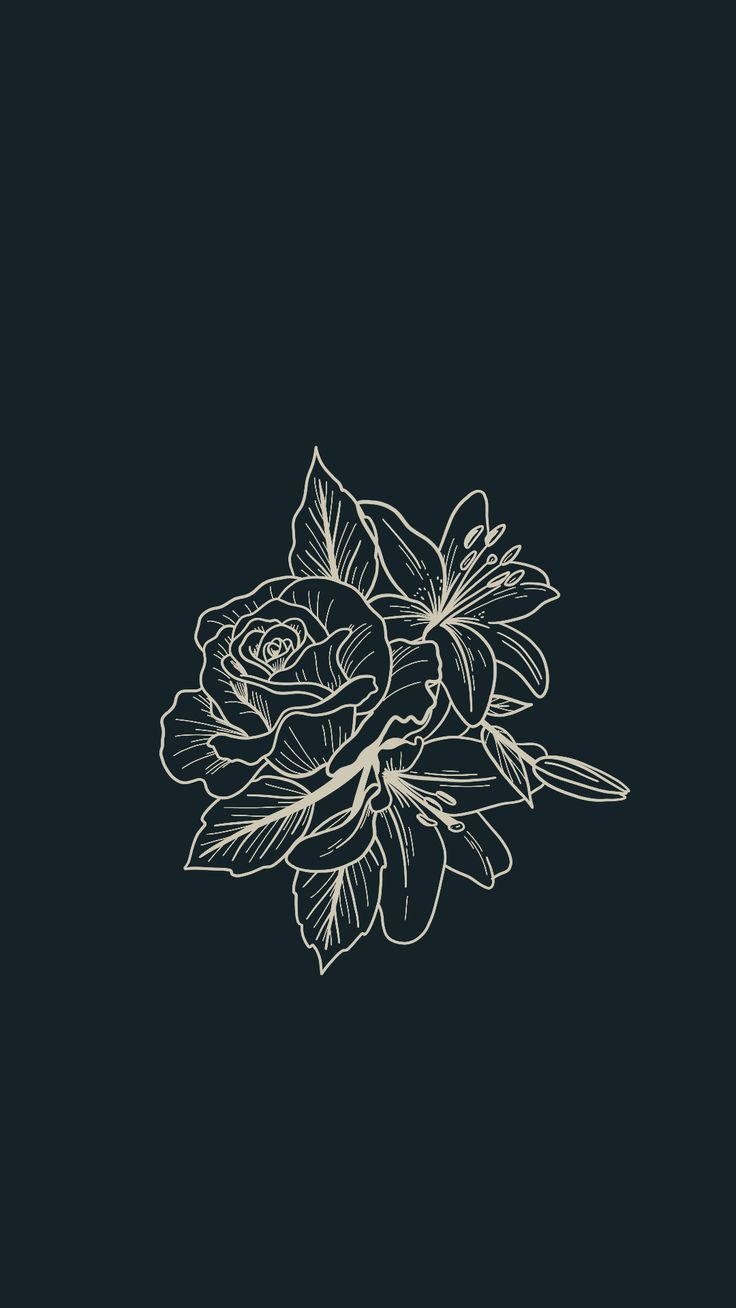 Tattoo design inspiration — line work florals. Rose, peony