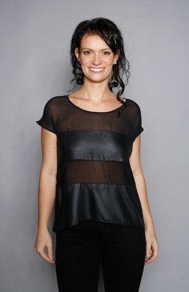 Shirt in Leder-Optik und Chiffon von www.bluehalo.de auf DaWanda.com
