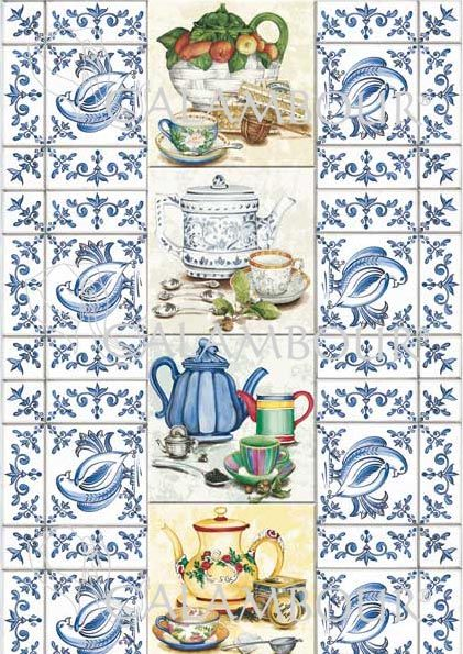 CAL 295 - Calambour Paper for classic Decoupage. Pattern : blue mosaic with small bird and flowers, white, blue and yellow teapots with teaspoons. Details: measures 50 x 70 cm, printing on 80 gr/mq paper sheet