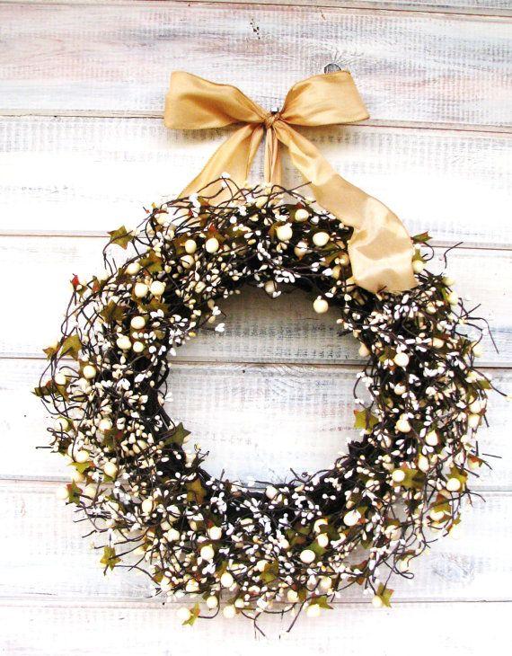 GOLD & ANTIQUE WHITE Berry WreathWedding by WildRidgeDesign, $65.00