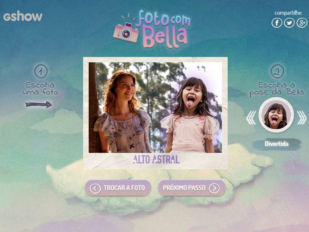 Tire uma foto com Bella! Use o aplicativo e faça uma montagem com a pequena