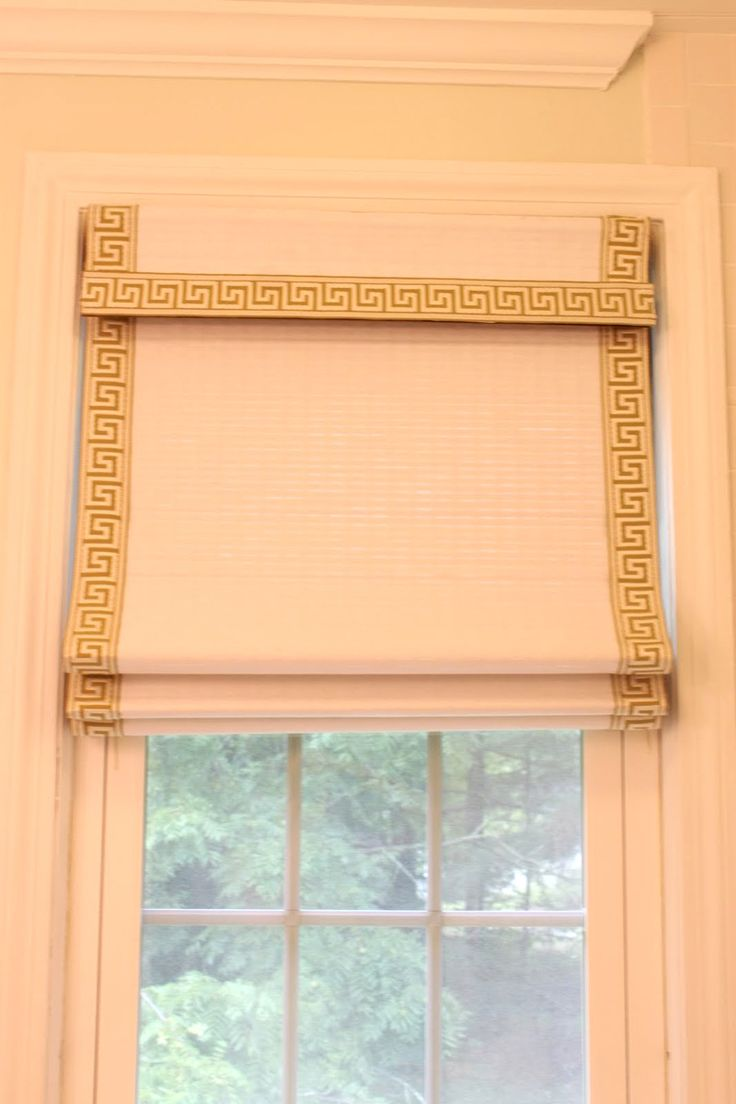 Bamboo curtain rods diy - Diy Friday Easy Greek Key Roman Shade Using Bamboo Blinds