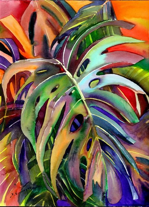 Buy Original Art by Suren Nersisyan   watercolor painting   Philodendron (Vertical Composition) at U