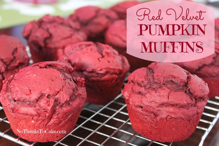 Red Velvet Pumpkin Muffins | No Thanks to Cake - Two ingredients and 5 WW Pts Plus.. This Hungry Girl recipe is to die for!