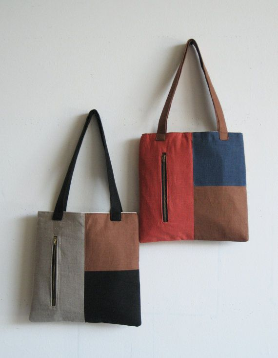 Items similar to Color Block Linen Tote- Black, Stone and Mocha on Etsy