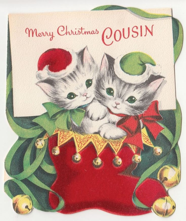 Vintage Greeting Card Christmas Cat Kitten Norcross