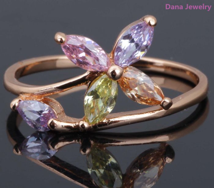 Flower rings for women,rose gold plated top quality colorful cubic zirconia , fashion jewelry R049 Promotion $4.20