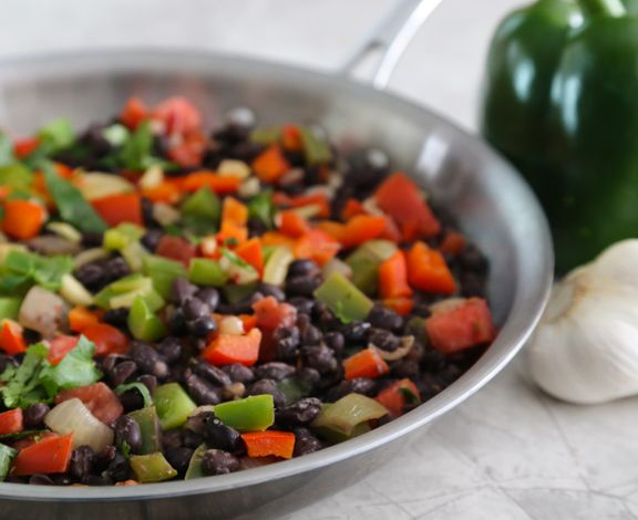 Easy simple vegan black bean sofrito recipe with rice