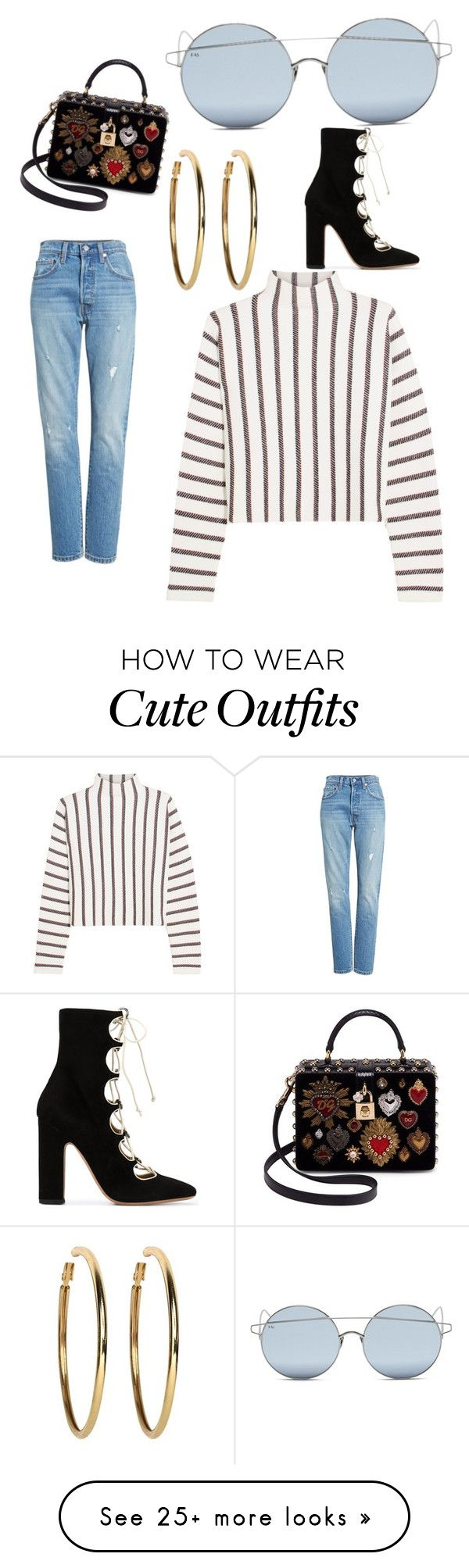 """Cute street outfit"" by mollymcharg on Polyvore featuring For Art's Sake, Maje, Levi's, Kenneth Jay Lane, Dolce&Gabbana and Valentino"