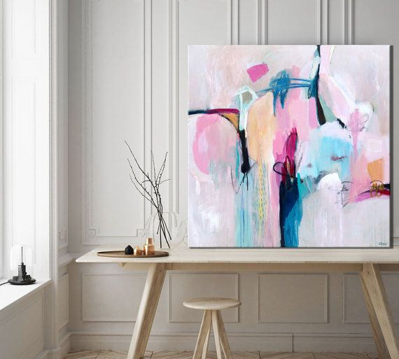 minimalist abstract painting, extra large wall art, large wall art, grey white abstract, abstract blue white, abstract print, pink painting