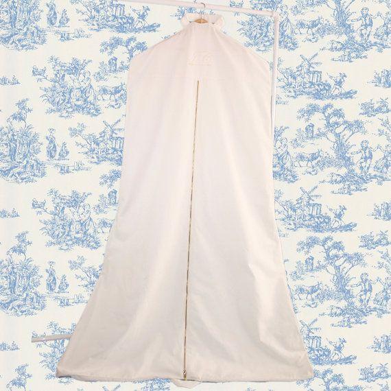 Custom Linen Garment Bag for Wedding Dress with Train - By Cloud Hunter Co