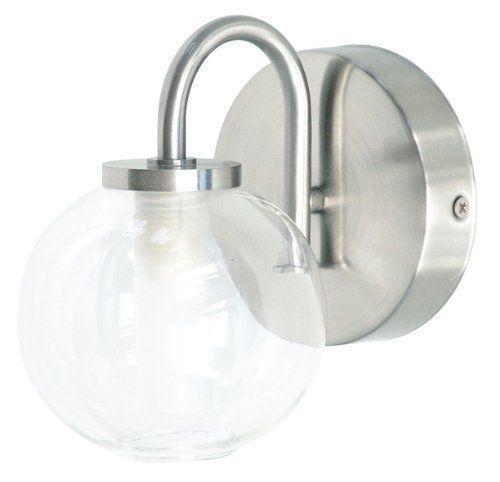 Ranex Wetline 3000.032 40 Watt Ranex Wetline Gualdo Brushed Steel and Glass Bathroom Wall Light