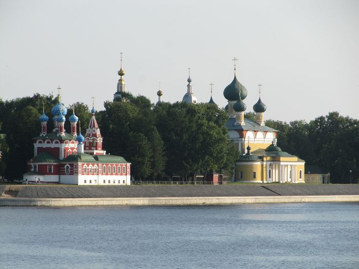 Uglich, view on its Kremlin from the Volga Here was killed the last son of Ivan the Terrible (Dmitry) and that red church is dedicated to him and to all children.