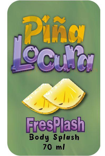 Diseño de marca y etiqueta para un splash llamado Piña Locura
